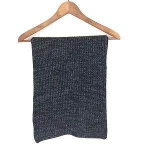 Brooks Brothers Dark Grey Ribbed 100% Wool Scarf